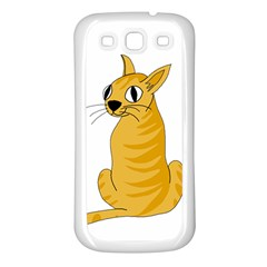 Yellow Cat Samsung Galaxy S3 Back Case (white) by Valentinaart