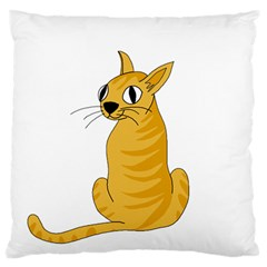 Yellow Cat Standard Flano Cushion Case (two Sides) by Valentinaart