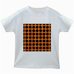 Circles1 Black Marble & Orange Marble (r) Kids White T Shirt by trendistuff