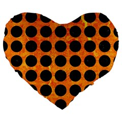 Circles1 Black Marble & Orange Marble (r) Large 19  Premium Flano Heart Shape Cushion by trendistuff