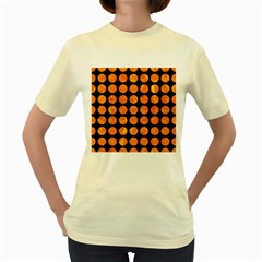 Circles1 Black Marble & Orange Marble Women s Yellow T Shirt by trendistuff