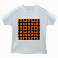 Circles1 Black Marble & Orange Marble Kids White T Shirt by trendistuff