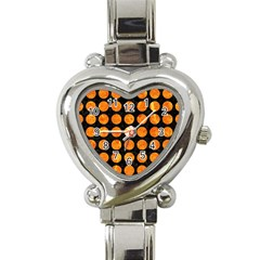 Circles1 Black Marble & Orange Marble Heart Italian Charm Watch by trendistuff