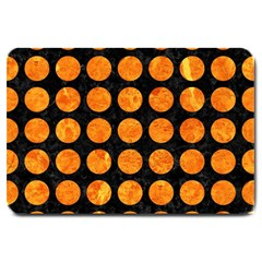 Circles1 Black Marble & Orange Marble Large Doormat by trendistuff