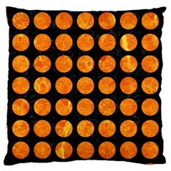 Circles1 Black Marble & Orange Marble Large Cushion Case (two Sides) by trendistuff