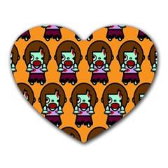 Zombie Woman Fill Orange Heart Mousepads by AnjaniArt