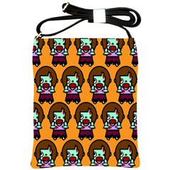 Zombie Woman Fill Orange Shoulder Sling Bags by AnjaniArt