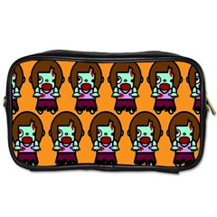 Zombie Woman Fill Orange Toiletries Bags by AnjaniArt