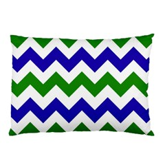 Blue And Green Chevron Pillow Case by AnjaniArt