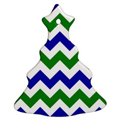 Blue And Green Chevron Christmas Tree Ornament (2 Sides) by AnjaniArt