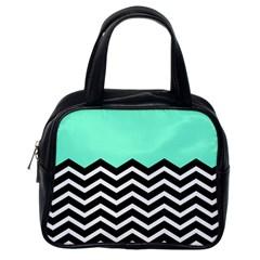 Blue Chevron Classic Handbags (one Side) by AnjaniArt