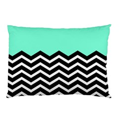 Blue Chevron Pillow Case (two Sides) by AnjaniArt