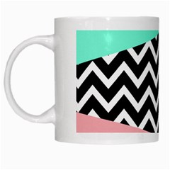 Chevron Green Black Pink White Mugs by AnjaniArt