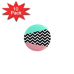 Chevron Green Black Pink 1  Mini Magnet (10 Pack)  by AnjaniArt