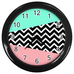 Chevron Green Black Pink Wall Clocks (black) by AnjaniArt