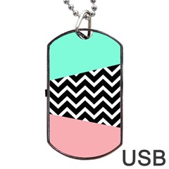 Chevron Green Black Pink Dog Tag Usb Flash (two Sides)  by AnjaniArt