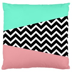 Chevron Green Black Pink Large Cushion Case (two Sides) by AnjaniArt