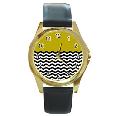 Colorblock Chevron Pattern Mustard Round Gold Metal Watch by AnjaniArt