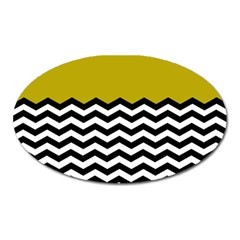 Colorblock Chevron Pattern Mustard Oval Magnet by AnjaniArt