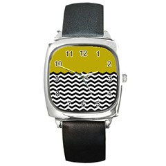 Colorblock Chevron Pattern Mustard Square Metal Watch by AnjaniArt