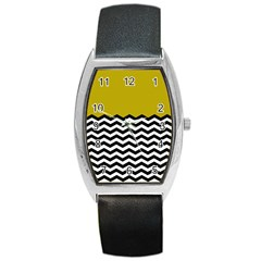 Colorblock Chevron Pattern Mustard Barrel Style Metal Watch by AnjaniArt