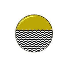 Colorblock Chevron Pattern Mustard Hat Clip Ball Marker (4 Pack) by AnjaniArt