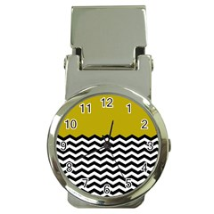 Colorblock Chevron Pattern Mustard Money Clip Watches by AnjaniArt