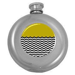 Colorblock Chevron Pattern Mustard Round Hip Flask (5 Oz) by AnjaniArt