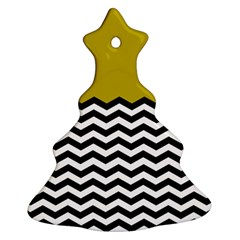 Colorblock Chevron Pattern Mustard Ornament (christmas Tree) by AnjaniArt