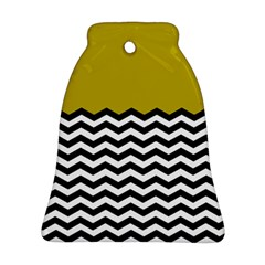 Colorblock Chevron Pattern Mustard Bell Ornament (2 Sides) by AnjaniArt