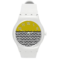 Colorblock Chevron Pattern Mustard Round Plastic Sport Watch (m) by AnjaniArt