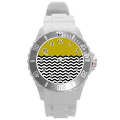 Colorblock Chevron Pattern Mustard Round Plastic Sport Watch (l) by AnjaniArt