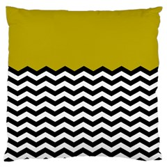 Colorblock Chevron Pattern Mustard Large Cushion Case (one Side) by AnjaniArt