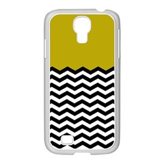 Colorblock Chevron Pattern Mustard Samsung Galaxy S4 I9500/ I9505 Case (white) by AnjaniArt