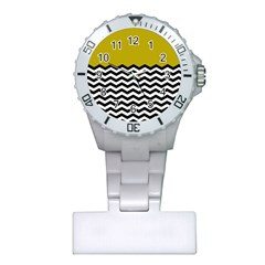 Colorblock Chevron Pattern Mustard Plastic Nurses Watch by AnjaniArt