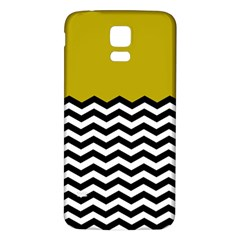 Colorblock Chevron Pattern Mustard Samsung Galaxy S5 Back Case (white) by AnjaniArt