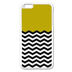 Colorblock Chevron Pattern Mustard Apple Iphone 6 Plus/6s Plus Enamel White Case by AnjaniArt