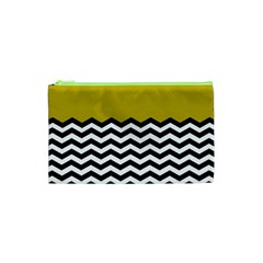 Colorblock Chevron Pattern Mustard Cosmetic Bag (xs) by AnjaniArt