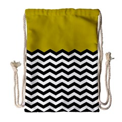Colorblock Chevron Pattern Mustard Drawstring Bag (large) by AnjaniArt