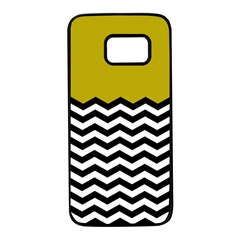Colorblock Chevron Pattern Mustard Samsung Galaxy S7 Black Seamless Case by AnjaniArt