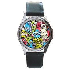 Colourful Monster Flooring Round Metal Watch by AnjaniArt