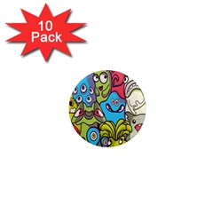 Colourful Monster Flooring 1  Mini Magnet (10 Pack)  by AnjaniArt