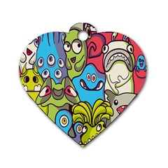 Colourful Monster Flooring Dog Tag Heart (one Side) by AnjaniArt