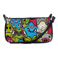 Colourful Monster Flooring Shoulder Clutch Bags by AnjaniArt