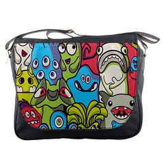 Colourful Monster Flooring Messenger Bags by AnjaniArt