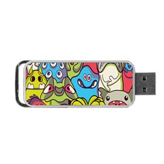 Colourful Monster Flooring Portable Usb Flash (one Side)
