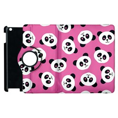 Cute Panda Pink Apple Ipad 2 Flip 360 Case by AnjaniArt