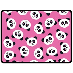 Cute Panda Pink Double Sided Fleece Blanket (large)  by AnjaniArt