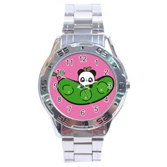 Edamame Panda Pink Cute Animals Stainless Steel Analogue Watch by AnjaniArt
