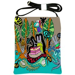 Cosmic Candy Monster Shoulder Sling Bags by AnjaniArt